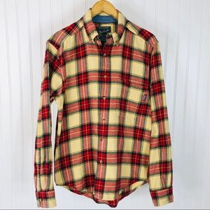 Woolrich Yellow Plaid Cotton Flannel Button Down